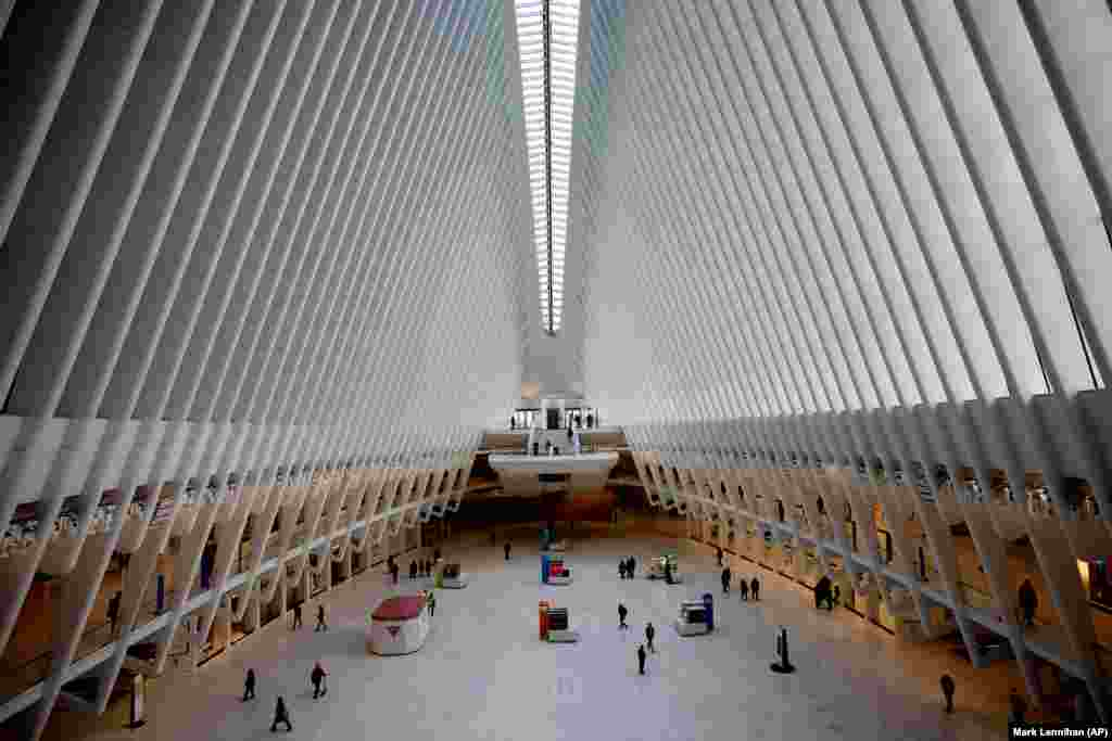 The Oculus at the World Trade Center's transportation hub in New York City is sparsely populated on March 16 amid the coronavirus crisis. (AP/Mark Lennihan)