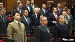 Armenia - Eduard Sharmazanov (L) and other deputies from the ruling Republican Party at a parliament session.