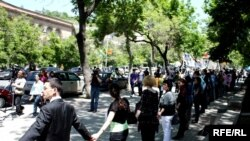 Armenia -- Protest action against construction of cafeterias in a public park in Yerevan, 14May2010
