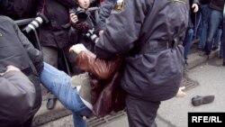 Разгон участников акции в Москве.