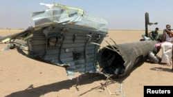 The wreckage of a Russian helicopter that was shot down in Syria's Idlib Province in August