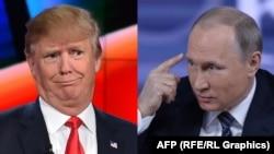Президент Росії Володимир Путін (п) і кандидат у президенти США від Республіканської партії Дональд Трамп