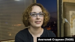 Tatyana Felgengauer's face was shown in a state TV report accusing Ekho Moskvy of undermining the Russian state.