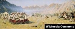 """В. В. Верещагин """"Күтүүсүз кол салуу"""". 1871-ж."""