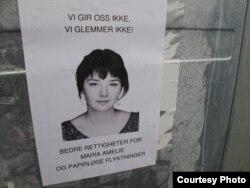 Плакат в поддержку Марии Амели. Берген, январь 2011 года
