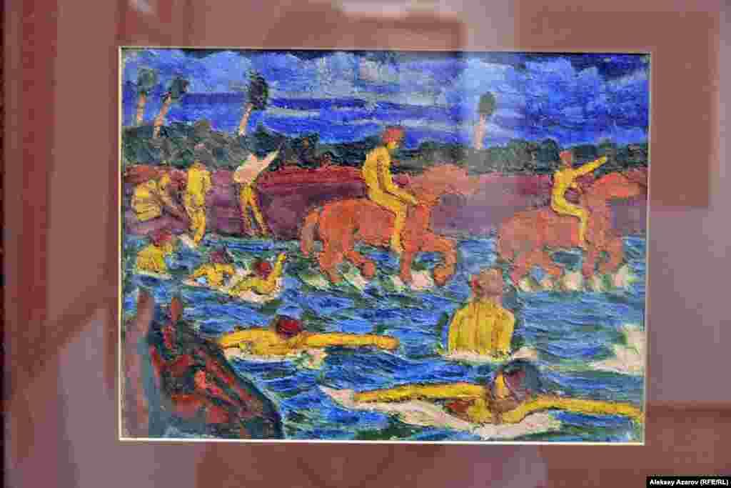 Работа «Красные кони», написанная в 1911 году. Считается, что это произведение вдохновило учителя Сергея Калмыкова Кузьму Петрова-Водкина создать в 1912 году одну из самых своих знаменитых картин – «Купание красного коня», – хранящуюся в Москве в Третьяковской галерее.