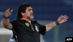 Diego Maradona, shown here in Doha in 2012, served as coach of the United Arab Emirates' Al-Wasl team.