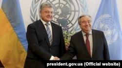 Petro Poroshenko la New York cu secretarul-general ONU, Antonio Guterres. 20 februarie 2019