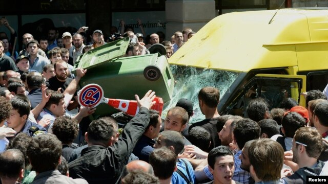 At least 17 people were injured after gay rights campaigners were attacked by antigay activists in Tbilisi in May 2013.