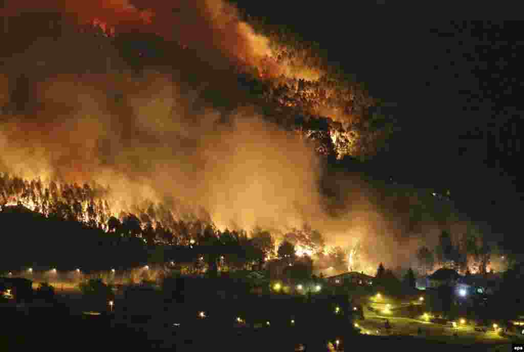 Flames burn trees near houses during a fire earlier this week that damaged woodland near Bilbao in Spain. (epa/Miguel Tona)