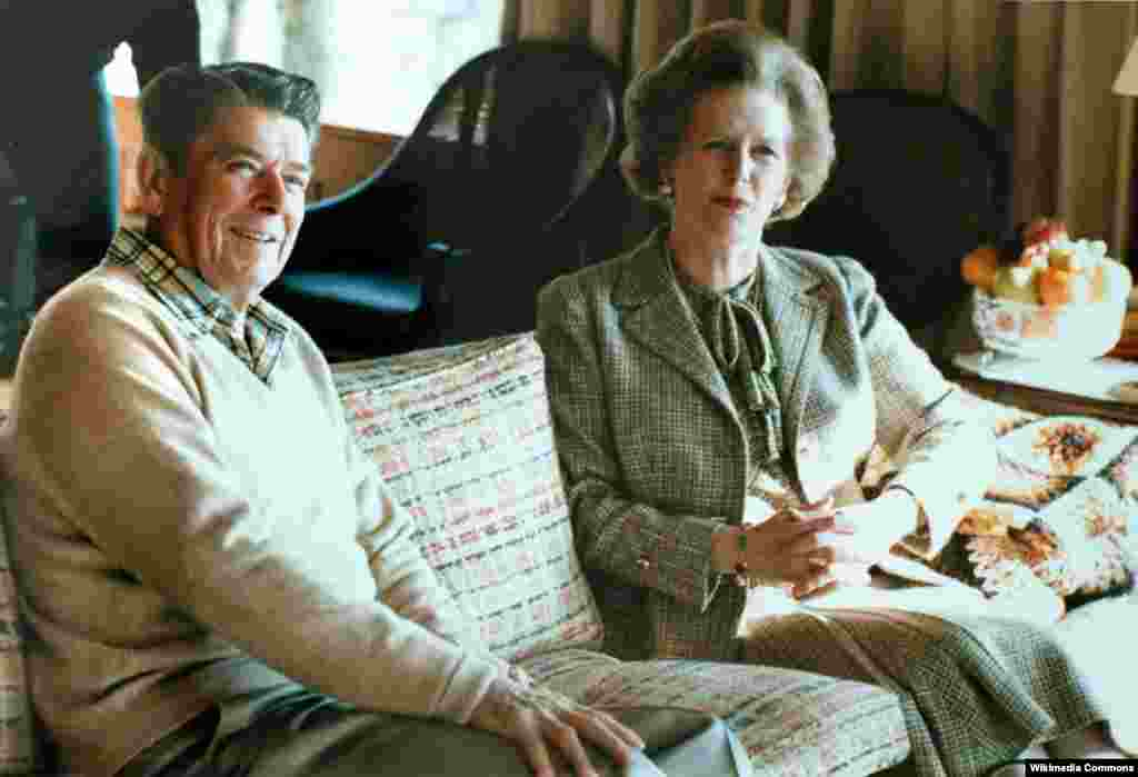 Margaret Thatcher with Ronald Reagan at Camp David in 1984