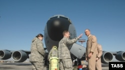 U.S. servicemen at the Manas air base in Kyrgyzstan