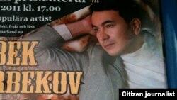 Uzbekistan - advertisement banner of Uzbek singer Ozodbek Nazarbekov in Stockholm, 15Aug2011