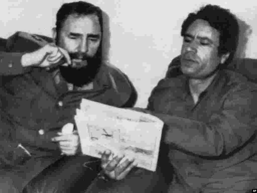 Cuban leader Fidel Castro meets with Qaddafi in Tripoli on March 8, 1977.