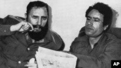 Архивска фотографија Фидел Кастро и Моамер Гадафи