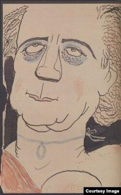 М.Добужинский. Лидия Зиновьева-Аннибал. Шарж. 1906-1907.