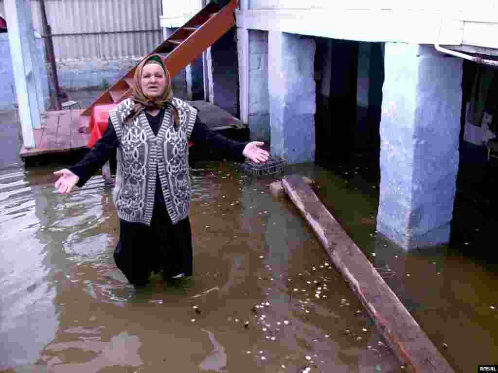 A woman stands in high water during severe floods in southeastern Azerbaijan... - Photo by RFE/RL