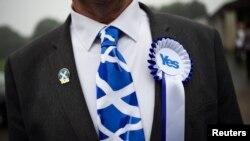 Сторонник независимости Шотландии накануне референдума, сентябрь 2014 года