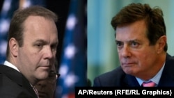 A composite photo of Rick Gates (left) and Paul Manafort