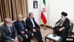 Iran's Supreme Leader Ayatollah Ali Khamenei meeting with Palestinian Islamic Jihad leader Ziad al-Nakhala, in Tehran, December 31, 2018