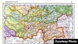 Карта Таджикской ССР 1939 года.