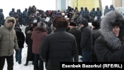 Disgruntled homeowners gather in Astana to protest.