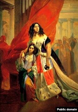 Юлия Самойлова, удаляющаяся с бала с приемной дочерью Амацилией Пачини