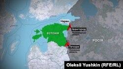 Червоним кольором виділені території, які Естонія вимагає від Росії повернути
