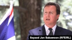British Prime Minister David Cameron speaks during a joint press conference in Kabul on July 5.