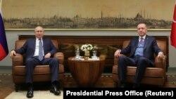 Türkiyı prezidenti Racep Tayyip Erdogan və Rusiya prezidenti Vladimir Putin , 8 yanvar, 2020