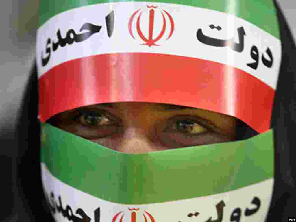 An Ahmadinejad supporter in Tehran on June 2