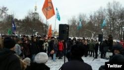 На акции протеста в Москве. 23 января 2016 года.