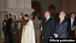 Nagorno-Karabakh -- Armenian President Serzh Sarkisian (R) and Karabakh Armenian leaders attend a liturgy in the Armenian cathedral of Shushi, 8May2011.