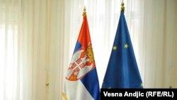 Zastava Srbije i EU, Beograd