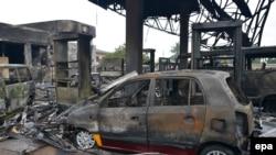 Место пожара в Аккре. Гана, 4 июня 2015 года.