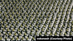 تصویر از یکی از رژههای سپاه پاسداران در مراسمی با حضور آیتالله علی خامنهای، رهبر جمهوری اسلامی، است