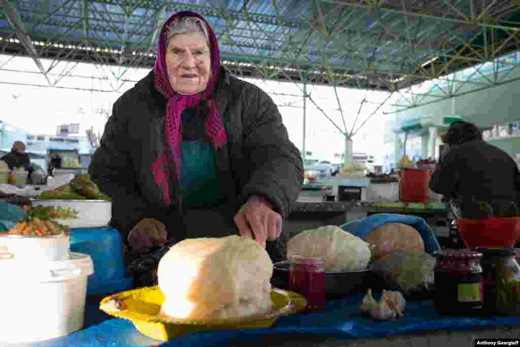 A vendor at Tiraspol's main market