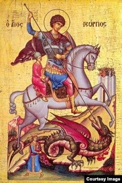 Святой Георгий. Византийская икона XV века