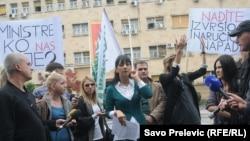 Protest novinara u Podgorici, foto: Savo Prelević