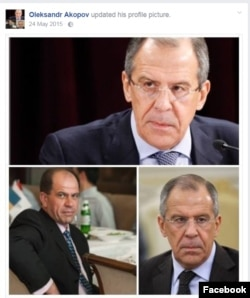 A Facebook post by Ukrainian pilot Oleksandr Akopov (bottom left) with with pictures of Russian Foreign Minister Sergei Lavrov (top and bottom right)