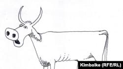Карикатурачы Кимбайкенин (Төлөгөн Карыкеев) ар ким желинин кактап сааган, соңку учурда ачка кала берип жаткан бүжөт-уй тууралуу сүрөтү.
