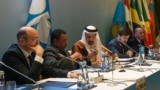 Azerbaijani Energy Minister Parviz Shahbazov, OPEC Secretary General Mohammed Barkindo, Saudi Energy Minister Khalid al-Falih, Russian Deputy Energy Minister Pavel Sorokin and Venezuelan Oil Minister Manuel Quevedo chair a meeting of OPEC and non- OPEC countries in Baku, March 18