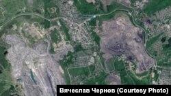 Серым на карте обозначены угольные разрезы вокруг Киселевска