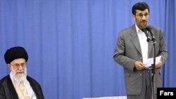 The two suspended political organizations present slightly different threats to President Mahmud Ahmadinejad (right), seen with Supreme Leader Ali Khamenei.