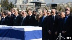 Ариэль Шаронды жерлеу салтанатына жиналған мемлекет басшылары. Иерусалим, 13 қаңтар 2014 жыл.