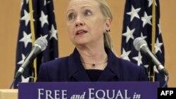 Госсекретарь США Хиллари Клинтон говорит о правах сексуальных меньшинств. Женева, 6 декабря 2011 года