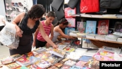 Armenia - School supplies sold at a market stall in Yerevan, 22Aug2012.