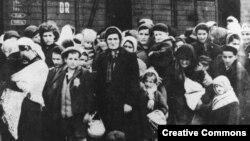Венгерские евреи, доставленные в лагерь смерти Освенцим летом 1944 года