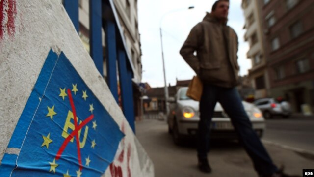 Anti-evropski poster u Beogradu