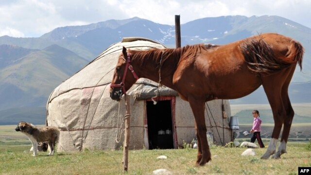 A settlement on Kyrgyzstan's Suu-Samyr plateau, along the ancient Silk Road from Bishkek to Osh